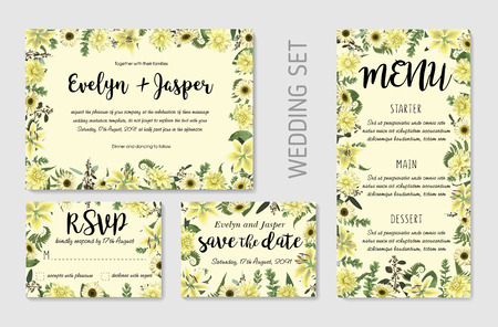 Wedding invite, invitation menu rsvp thank you card vector floral greenery design. Forest leaf, fern, branches, buxus, eucalyptus. Flowers of white lily, gerbera, dahliaer. Watercolor template set