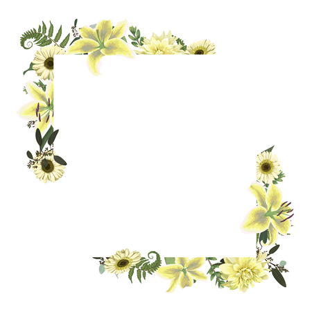 Vector card floral design with forest leaf, fern, branches, buxus, eucalyptus. Flowers of white lily, gerbera, dahlia. Decorative frame, square. Cute greeting, postcard template