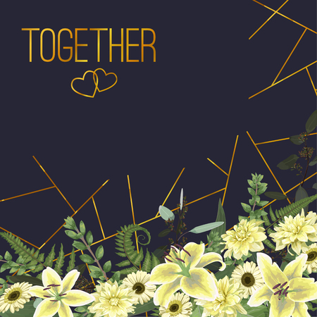 Wedding floral invitation, invite card. Vector watercolor , green forest leaf, fern, branches, buxus, eucalyptus. Flowers of white lily, gerbera, dahlia. Text decorating on blue background with golden lines