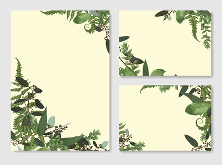 Set of vector wedding invitation, greeting card, save date. Frame of green leaves of fern, boxwood and eucalyptus twigs. Watercolor, rustic style 일러스트