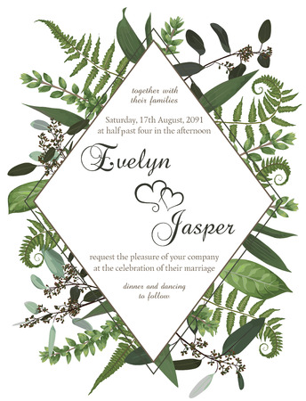 Wedding floral invite card. Vector watercolor green forest leaf, fern, branches boxwood, buxus, eucalyptus. Flowers of yellow, white lily, gerbera, dahlia. Decorative round frame, rhomb, geometric. Frame template Illustration