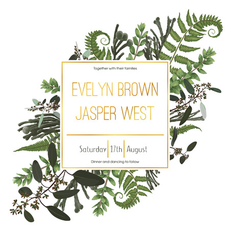 Wedding floral invitation, invite card. Vector watercolor green forest leaf, fern, brunia, branches boxwood, buxus, eucalyptus. Natural, botanical decorative frame gold, square. Good layout 일러스트
