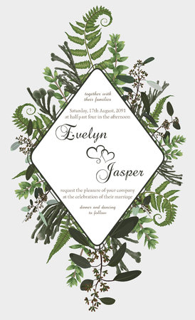 Wedding vertical floral invitation, invite card. Vector watercolor set green forest fern, herbs, brunia, eucalyptus, branches boxwood, buxus. Botanical decorative round frame, rhomb, geometric. Rhombus frame template 일러스트