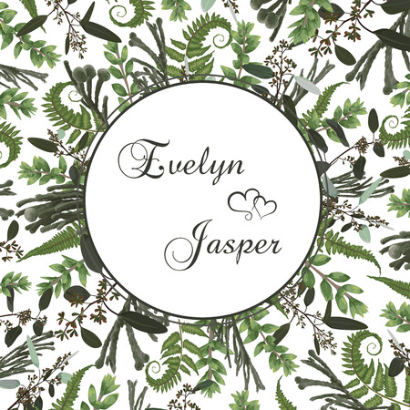 Wedding floral invitation, invite card. Vector watercolor set green forest fern, brunia, herbs, eucalyptus, branches boxwood, buxus. Natura, botanical green decorative round frame, border, circle. Pattern on a white background 일러스트