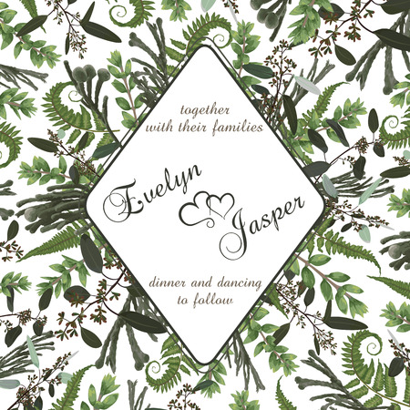 Wedding square floral invitation, invite card. Vector watercolor set green forest fern, herbs, brunia, eucalyptus, branches boxwood, buxus. Botanical decorative round frame, rhomb, geometric. Rhombus frame template