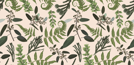Seamless pattern, background, texture print with light watercolor hand drawn green eucalyptus ,forest fern, branches boxwood, brunia, buxus. Tender, elegant textile fabric, wrapping paper backdrop layout 일러스트