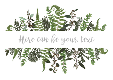 Vector illustration of a frame with green leaves of a forest fern, boxwood and eucalyptus, brunia. Pattern for wedding invitations, greeting cards, banners, certificates and labels. Horizontal