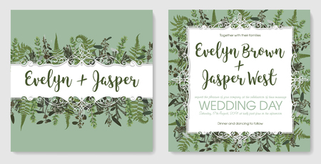 Set for wedding invitation, greeting card, save date, banner. Vintage frame with green fern leaf, boxwood, brunia and eucalyptus. Isolated on green background
