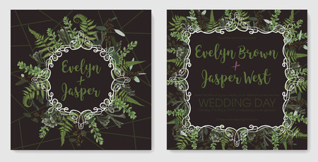 Set for wedding invitation, greeting card, save date, banner. Vintage frame with green fern leaf, boxwood, brunia and eucalyptus. Isolated on brown background. Watercolor