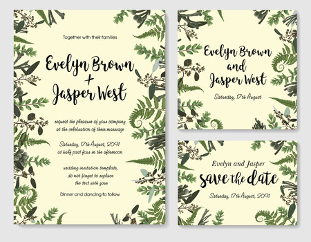 Set of vector wedding invitation, greeting card, save date. Frame of green leaves of fern, brunia, boxwood and eucalyptus twigs. Watercolor, rustic style, banners, certificates and labels