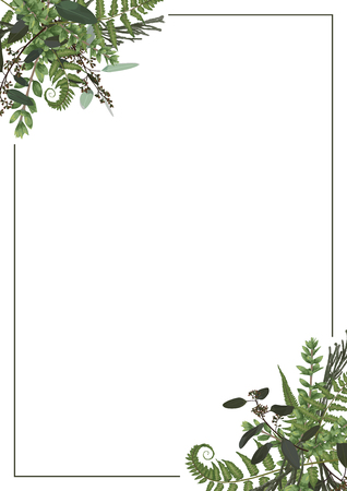Decorative golden rectangular frame with eucalyptus, fern and boxwood branches isolated on white. For wedding invitations, vignettes, postcards, brunia, posters, documents, diplomas. Vertical