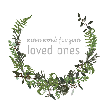 Wreath with herbs and leaves isolated on white background. Botanical illustration. Boxwood, eucalyptus, brunia, forest fern. Save the date, invitations, cards. Design elements. Vector