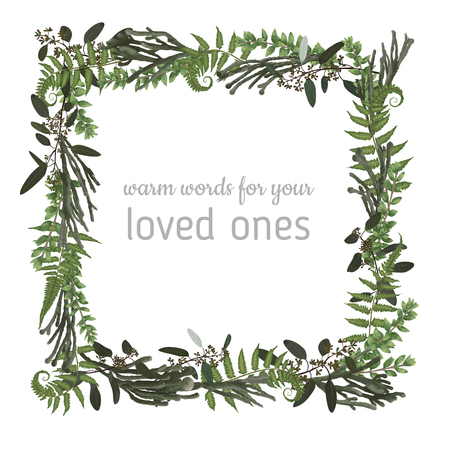 Vector floral card design. Green fern forest leaves herbs, eucalyptus, brunia, boxwood. Natural botanical Greeting wedding invite editable template.square Frame border with copy space