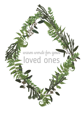 Vector floral card design. Green fern forest leaves herbs, eucalyptus, brunia, boxwood. Natural botanical Greeting wedding invite editable template rhombus, rhomb. Frame border with copy space