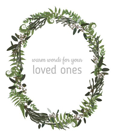 Beautiful leafy frame wreath of eucalyptus, brunia, fern and boxwood branches isolated on white. For wedding invitations, vignettes, postcards, posters, labels 일러스트