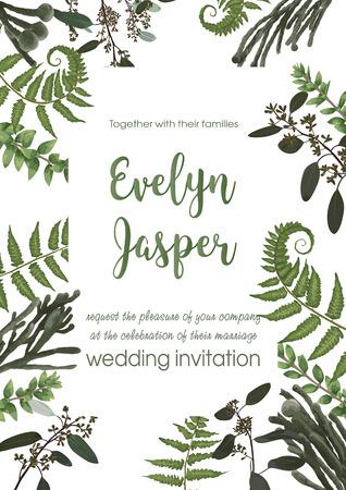 Invito a nozze invito carta vettoriale floreale verde design. Felce, eucalipto, bosso, verde botanico, brunia. Quadrato decorativo. Modello di cartolina Vettoriali