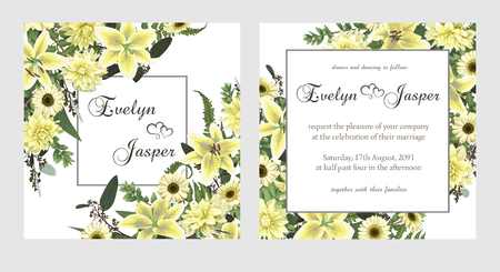 Set for wedding invitation, greeting card, save date, banner. Fern leaf, boxwood, brunia and eucalyptus. Flowers of white lily, gerbera, dahlia, brunia. Square, round on white background 일러스트
