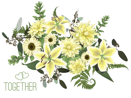 Vector floral bouquet design, green forest leaf, fern, branches, buxus, eucalyptus. Flowers of yellow, white lily, gerbera, dahlia, brunia. Watercolor style, herbs. Wedding for invite card