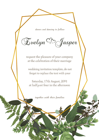 Decorative golden rectangular frame with eucalyptus, fern and boxwood branches isolated on white. For wedding invitations, vignettes, postcards, brunia. Frame template vertical