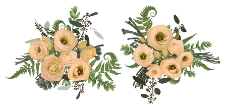 Vector floral bouquet design set, green forest leaf, brunia, fern, branches boxwood, buxus, eucalyptus and flowers eustoma cream. Watercolor style, herbs. Wedding for invite card Isolated design elements