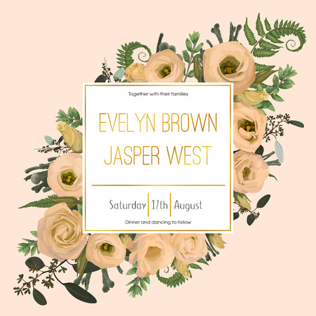 Wedding floral invitation, invite card. Vector watercolor green forest leaf, fern, brunia, branches boxwood, buxus, eucalyptus and flowers eustoma cream. Natural, botanical decorative frame gold, square. Good layout