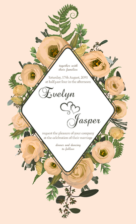 Wedding vertical floral invitation, invite card. Vector watercolor set green forest fern, herbs, brunia, eucalyptus, branches boxwood, buxus and flowers eustoma cream. Botanical decorative rhomb frame, geometric