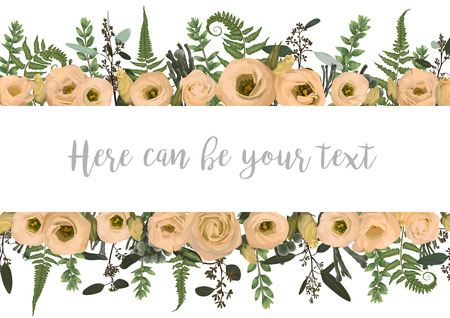 Vector illustration of a frame with green leaves of a forest fern, boxwood and eucalyptus, brunia and flowers eustoma cream. Pattern for wedding invitations, greeting cards, banners, certificates and labels. Horizontal