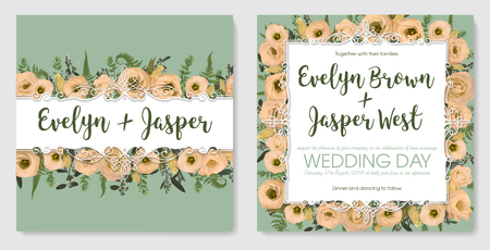 Set for wedding invitation, greeting card, save date, banner . Vintage frame with green fern leaf, boxwood, brunia eucalyptus and flowers eustoma cream. Isolated on green background