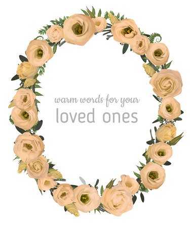Beautiful leafy frame wreath of eucalyptus, brunia, fern and boxwood branches and flowers eustoma cream. For wedding invitations, vignettes, postcards, posters, labels