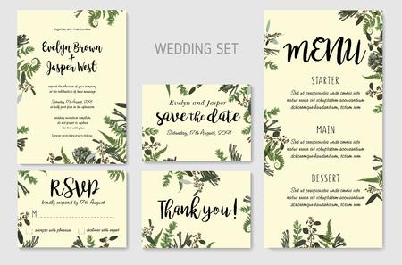 Invito a nozze, invito floreale, grazie, design della carta rsvp. Eucalipto, felce di bosco, erbe aromatiche, eucalipto, rami di bosso, buxus, brunia, verde botanico, cornice decorativa. Modello rustico dell'acquerello elegante di vettore