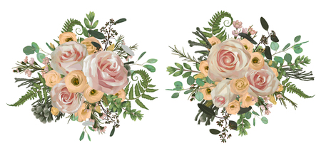 Vector floral bouquet design set, green forest leaf, brunia, fern, branches boxwood, buxus, eucalyptus, eustoma, tea roses and chamaelaucium. Watercolor style, herbs. Wedding for invite card Isolated elements