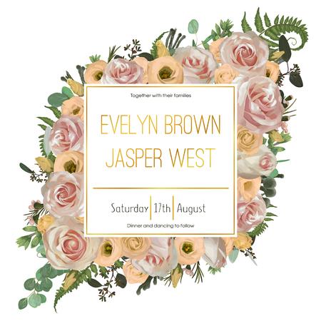Bruiloft bloemen uitnodiging, uitnodigingskaart. Vector aquarel groen bos blad, varens, brunia, takken buxus, buxus, eucalyptus, eustoma, thee rozen en chamaelaucium. Natuurlijk, botanisch decoratief frame