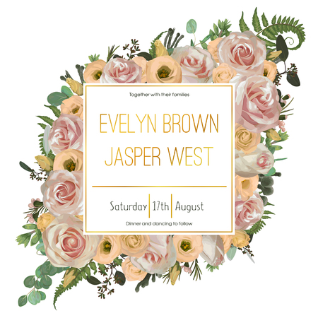 Wedding floral invitation, invite card. Vector watercolor green forest leaf, fern, brunia, branches boxwood, buxus, eucalyptus, eustoma, tea roses and chamaelaucium. Natural, botanical decorative frame