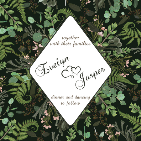 Wedding square floral invitation, invite card. Vector watercolor set green forest fern, herbs, brunia, eucalyptus, branches boxwood, buxus and chamaelaucium.. Botanical decorative frame, rhomb, geometric