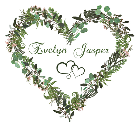 Valentine greeting card, invite card. Herbs, eucalyptus, forest fern, brunia, waxflower. Natural, branches boxwood, buxus. For wedding invitations, vignettes, postcards, posters, labels