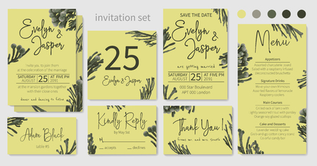 Set of wedding invitations, floral invitations, table, menu, thank you, rsvp card design. Decorative Brunia, dark green, branches. Vector elegant watercolor rustic pattern, template