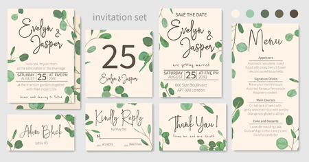 Set of wedding invitations, floral invitations, table, menu, thank you, rsvp card design. Eucalyptus silver dollar, light green with long leaves botanical. Vector elegant watercolor rustic pattern, template
