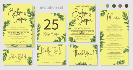 Set of wedding invitations, floral invitations, table, menu, thank you, rsvp card design. Branches boxwood, light green on a yellow background. Vector elegant watercolor rustic pattern, template Vettoriali
