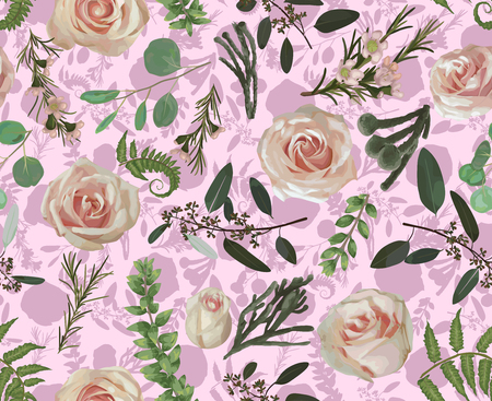 Seamless pattern, background, texture print with flowers, light watercolor hand drawn green eucalyptus, forest fern, branches boxwood, brunia, buxus and pink rose. Tender, elegant textile fabric, wrapping paper