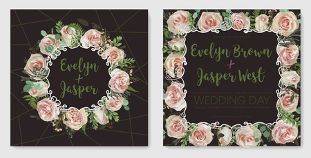 Set for wedding invitation, greeting card, save date, banner. Vintage frame with flowers, green fern leaf, boxwood, brunia,eucalyptus, chamaelaucium and pink rose. Isolated on brown background