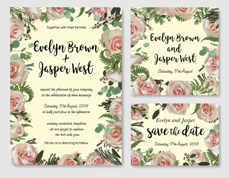 Set of vector wedding invitation, greeting card, save date. Frame of green leaves of fern, brunia, boxwood, eucalyptus twigs, chamaelaucium and pink rose. Watercolor, rustic style, banners, certificates Ilustração