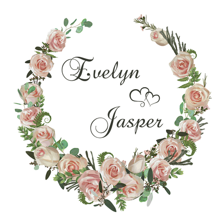 Wreath with flowers and leaves isolated on white background. Botanical illustration. Boxwood, eucalyptus, brunia, forest fern and pink rose. Invitations, cards. Design elements. Vector Ilustração