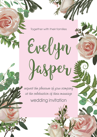 Wedding invite invitation card vector floral greenery design flower. Fern, eucalyptus, boxwood, botanical green, brunia, pink rose. Decorative square. Postcard template