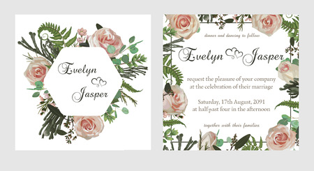 Set for wedding invitation, greeting card, save date, banner. Flowers, leafs, boxwood, brunia and eucalyptus, pink rose. Square, round on white and  background and decorative square frame. Vector watercolor template 일러스트