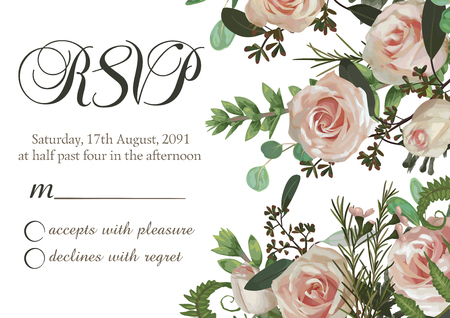 Vector card floral design with green watercolor, eucalyptus, forest fern, herbs, eucalyptus, branches boxwood, buxus, pink rose. Horizontal frame, square. On white background. Postcard, rvsp, template, wedding invite