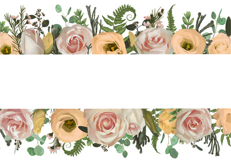 Vector illustration invitation, invite card. Pink rose flowers, eustoma cream, brunia, green fern, eucalyptus, branches buxuss on a white background. Wedding, greeting cards, banners, certificates and labels