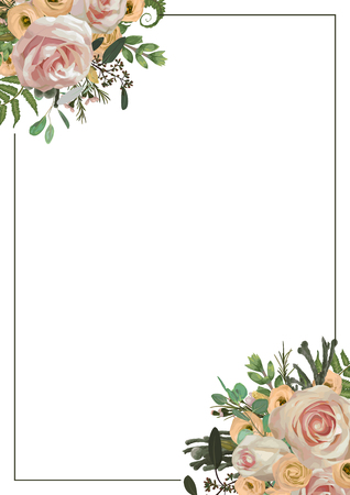 Decorative golden rectangular frame with pink rose flowers, eustoma cream, brunia, green fern, eucalyptus, branches buxus. For wedding invitations, vignettes, postcards, posters, documents. Vertical  イラスト・ベクター素材