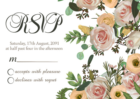 Dusty pink, creamy antique rose, pale flowers vector design wedding ravp frame. Flowers, eustoma, brunia, fern, rose, eucalyptus, branches. Floral pastel watercolor style border.Eements are isolated and editabl 일러스트