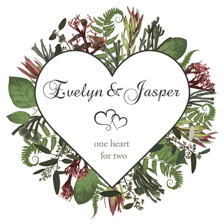 Plants, leaves, branches, brunia, blooming eucalyptus, leucadendron, gaultheria, salal, jatropha vector design frame.Valentines, watercolor seasonal flower card.Floral heart composition.Isolated and editable