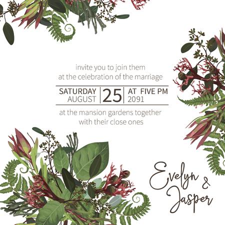 Ślubna, akwarela sezonowa karta kwiatowa. Rośliny, liście, gałęzie, brunia, kwitnący eukaliptus, leucadendron, gaultheria, salal, jatrofa wektor rama projektowa. Kwiatowa kompozycja kwadratowa. Na białym tle i edytowalne